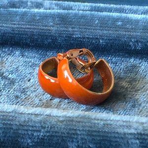 Vintage Orange Enamel Clip On Hoop Earrings